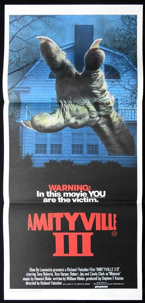 AMITYVILLE 3 Original daybill Movie poster Horror 3D Supernatural Demon Monster