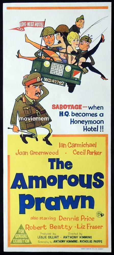 THE AMOROUS PRAWN Original Daybill Movie Poster Ian Carmichael Joan Greenwood