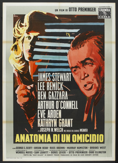 ANATOMY OF A MURDER, Italian Movie Poster, Vintage, Original, 1959, Otto Preminger, James Stewart, Lee Remick, Ben Gazzara, Arthur O'Connell, Eve Arden,