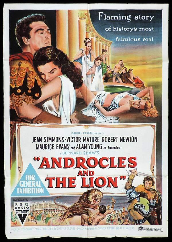 ANDROCLES AND THE LION One Sheet Movie Poster Jean Simmons Victor Mature Alan Young