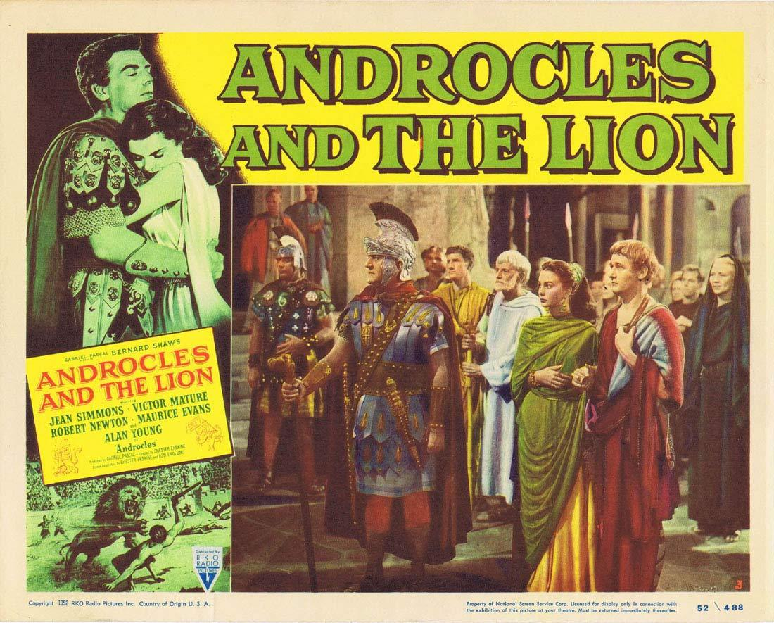 ANDROCLES AND THE LION Original Lobby Card 3 Jean Simmons Victor Mature Alan Young