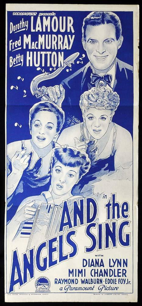 AND THE ANGELS SING Original 40s Daybill Movie Poster DOROTHY LAMOUR Fred MacMurray