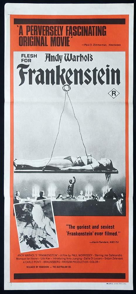 ANDY WARHOL'S FRANKENSTEIN Original Daybill Movie Poster Paul Morrissey Antonio Margheriti