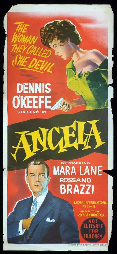 ANGELA Original Daybill Movie Dennis O'Keefe Film Noir