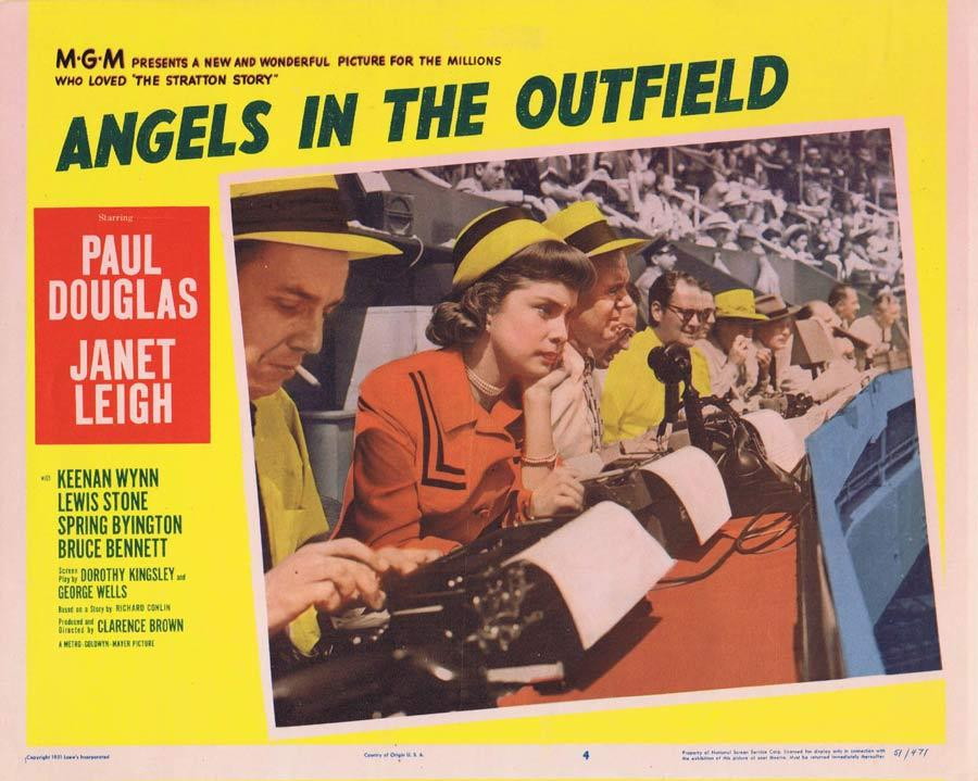 ANGELS IN THE OUTFIELD Lobby Card Janet Leigh Baseball