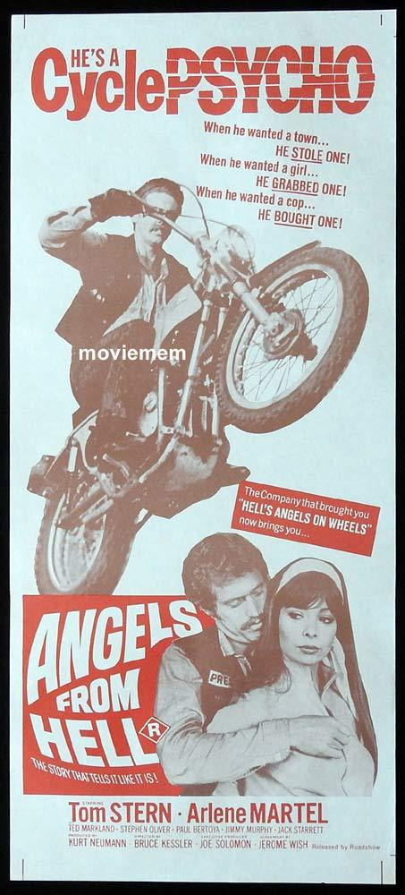 ANGELS FROM HELL Original Daybill Movie Poster Tom Stern Motorcycle Biker
