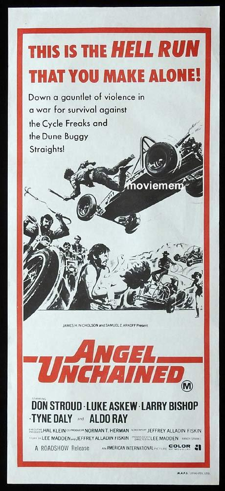 ANGEL UNCHAINED Daybill Movie Poster 1970 Don Stroud BIKER MOTORCYCLE