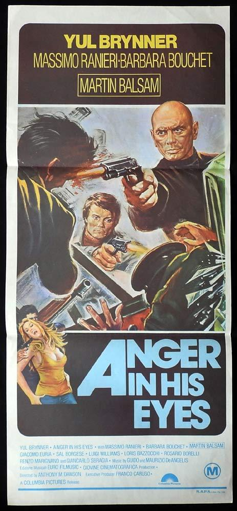 ANGER IN HIS EYES aka DEATH RAGE Original Daybill Movie Poster Yul Brynner