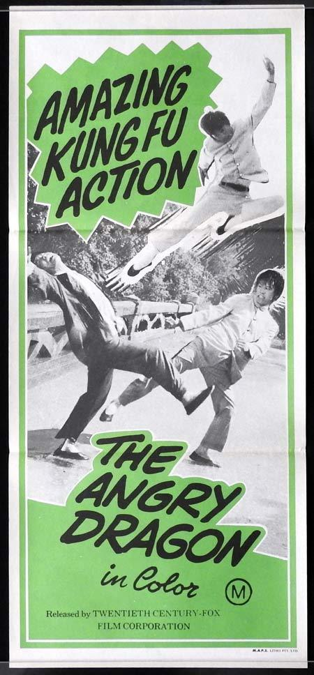 THE ANGRY DRAGON Original Daybill Movie Poster Kung Fu Martial Arts