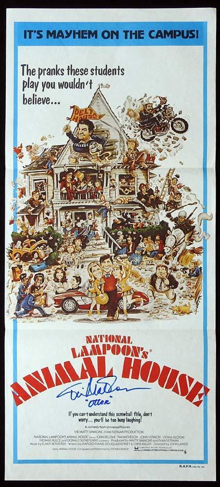 ANIMAL HOUSE Original Daybill Movie poster TIM MATHESON Autograph