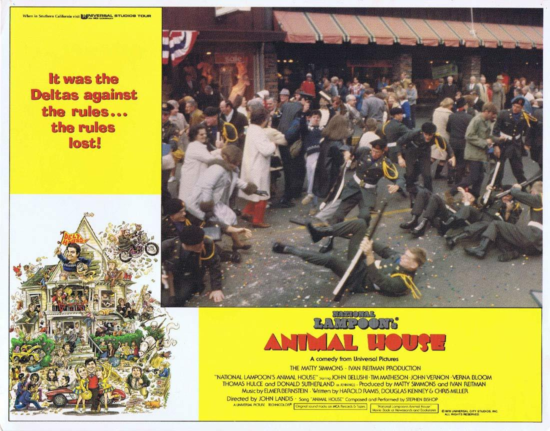 NATIONAL LAMPOON'S ANIMAL HOUSE Original Lobby Card 1 Tim Matheson John Belushi