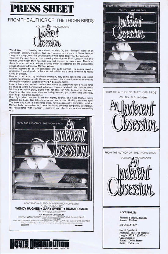 An Indecent Obsession, Lex Marinos, Wendy Hughes, Gary Sweet, Richard Moir, Mark Little