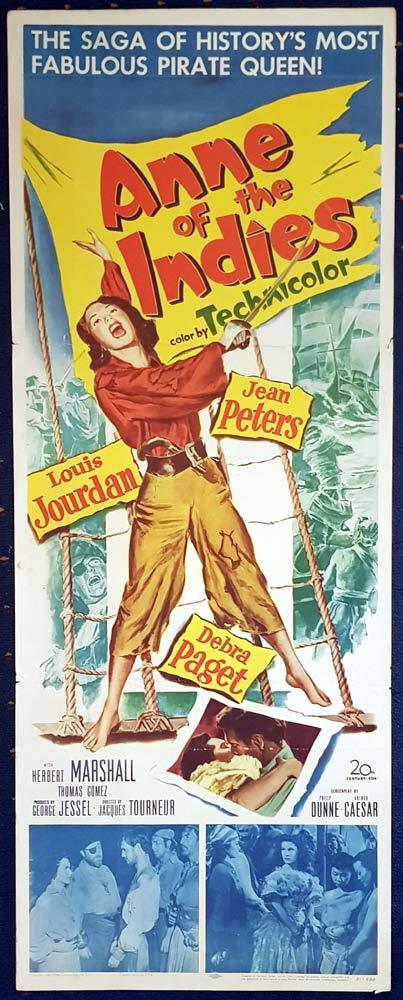 ANNE OF THE INDIES Original US Insert Movie Poster Jean Peters Louis Jourdan