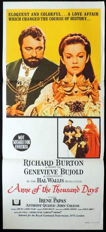 ANNE OF THE THOUSAND DAYS Daybill Movie poster Richard Burton