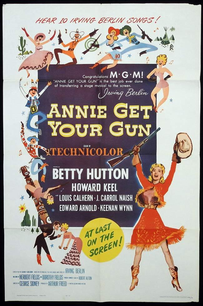 ANNIE GET YOUR GUN Original One sheet Movie Poster Betty Hutton Howard Keel Benay Venuta