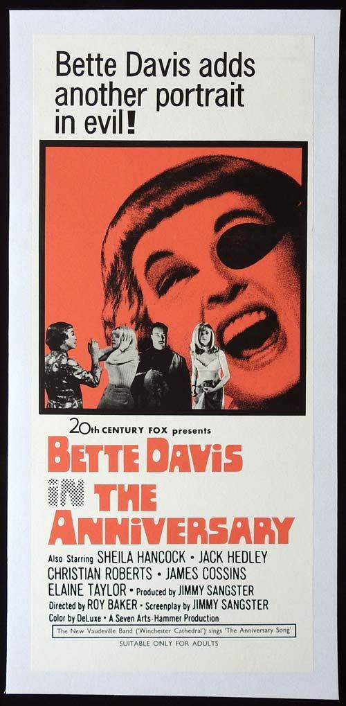 THE ANNIVERSARY Hammer Horror Original LINEN BACKED Daybill Movie poster Bette Davis