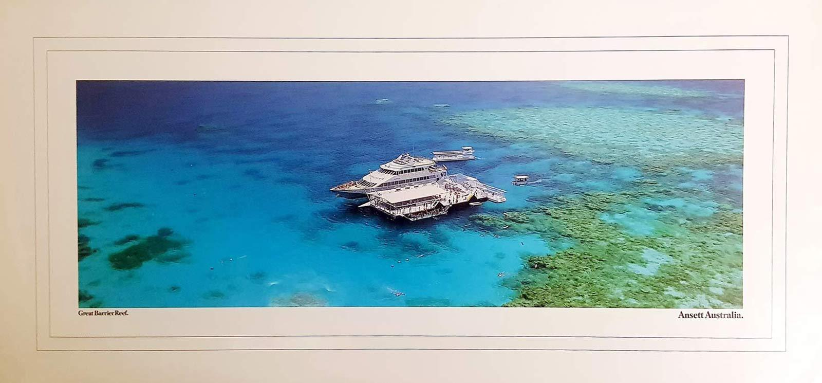 ANSETT Vintage Travel Poster GREAT BARRIER REEF Panorama