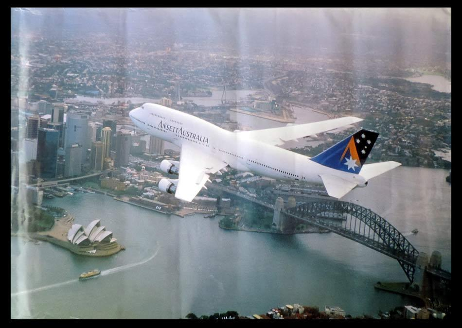 ANSETT AIRLINES Vintage Travel Poster c.1970s Flying over Sydney Harbour