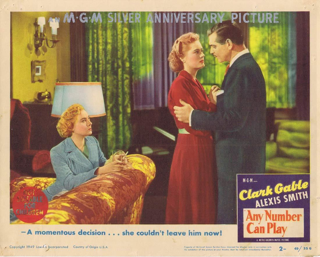 ANY NUMBER CAN PLAY Lobby Card 2 Clark Gable Alexis Smith