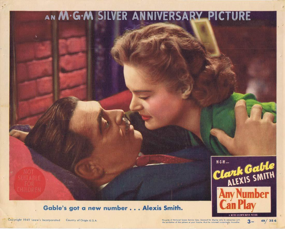 ANY NUMBER CAN PLAY Lobby Card 3 Clark Gable Alexis Smith