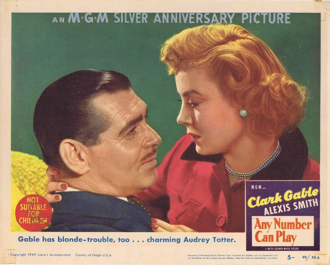 ANY NUMBER CAN PLAY Lobby Card 5 Clark Gable Alexis Smith