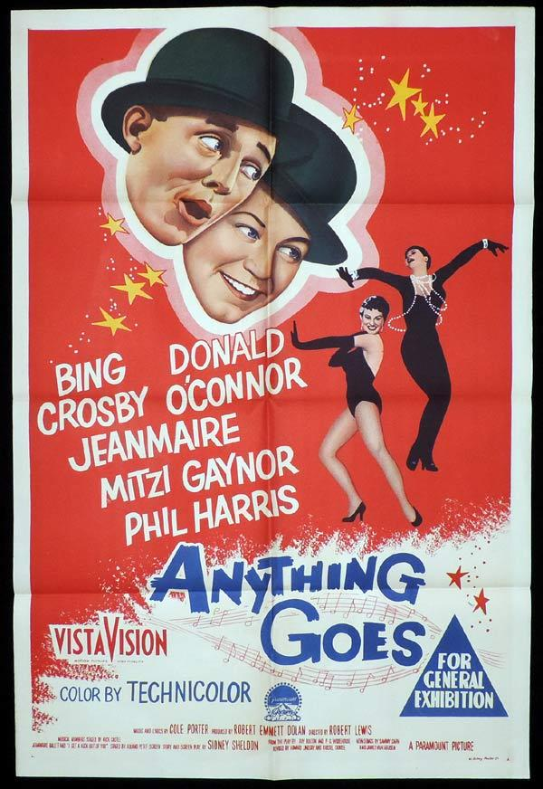 ANYTHING GOES One Sheet Movie Poster Bing Crosby Donald O'Connor