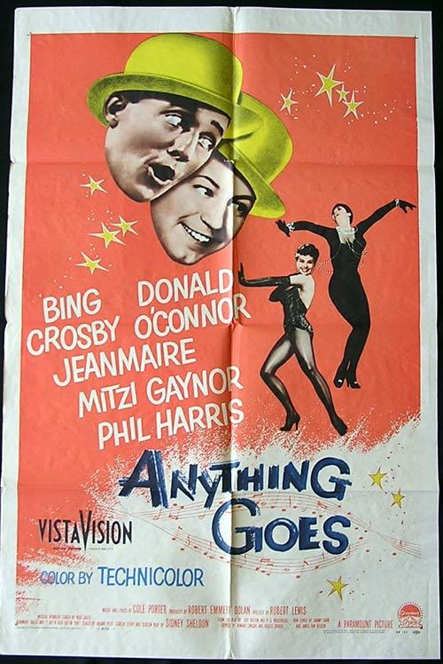ANYTHING GOES '56 Bing Crosby Donald O'Connor US 1 sheet poster