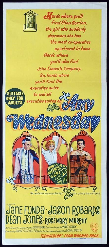 ANY WEDNESDAY Original Daybill Movie Poster Jason Robards Jane Fonda