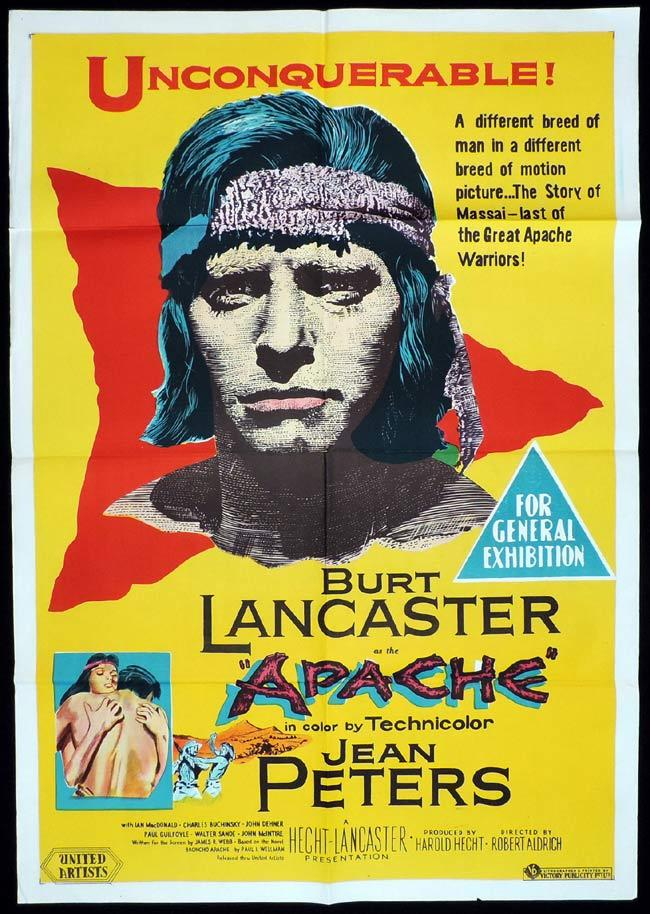 APACHE, Original One sheet, Movie Poster, BURT LANCASTER, Jean Peters