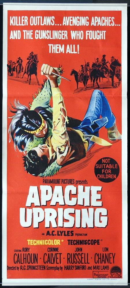APACHE UPRISING Daybill Movie Poster Rory Calhoun AMERICAN INDIAN