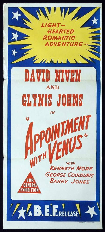 APPOINTMENT WITH VENUS Original Daybill Movie Poster David Niven Glynis Johns