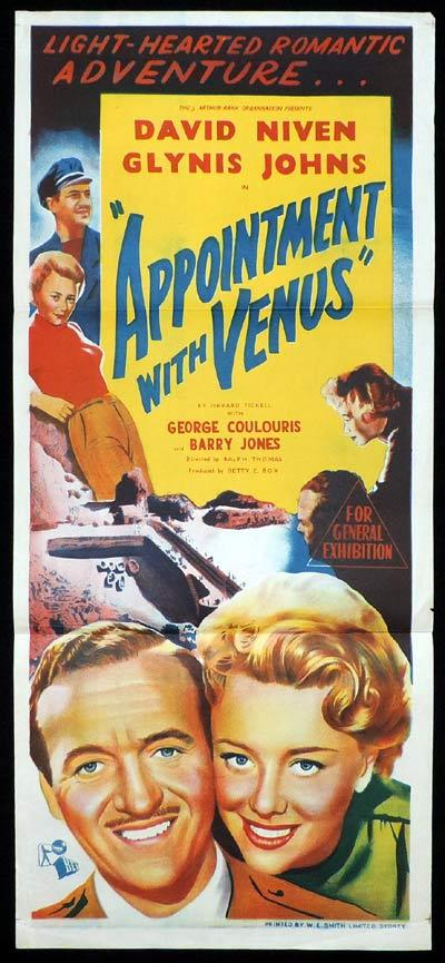 APPOINTMENT WITH VENUS Daybill Movie Poster David Niven