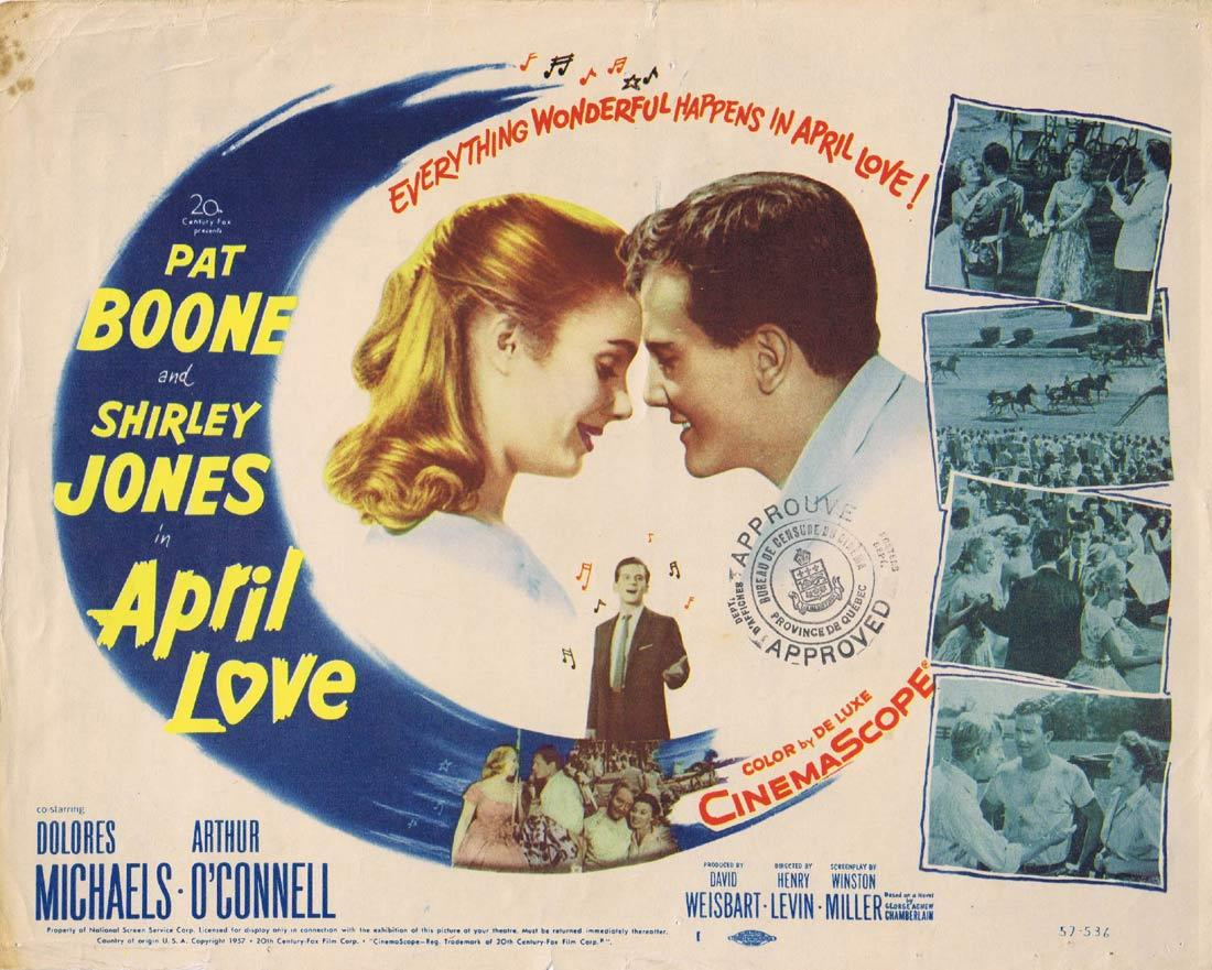 APRIL LOVE Vintage Title Lobby Card Pat Boone Shirley Jones Dolores Michaels