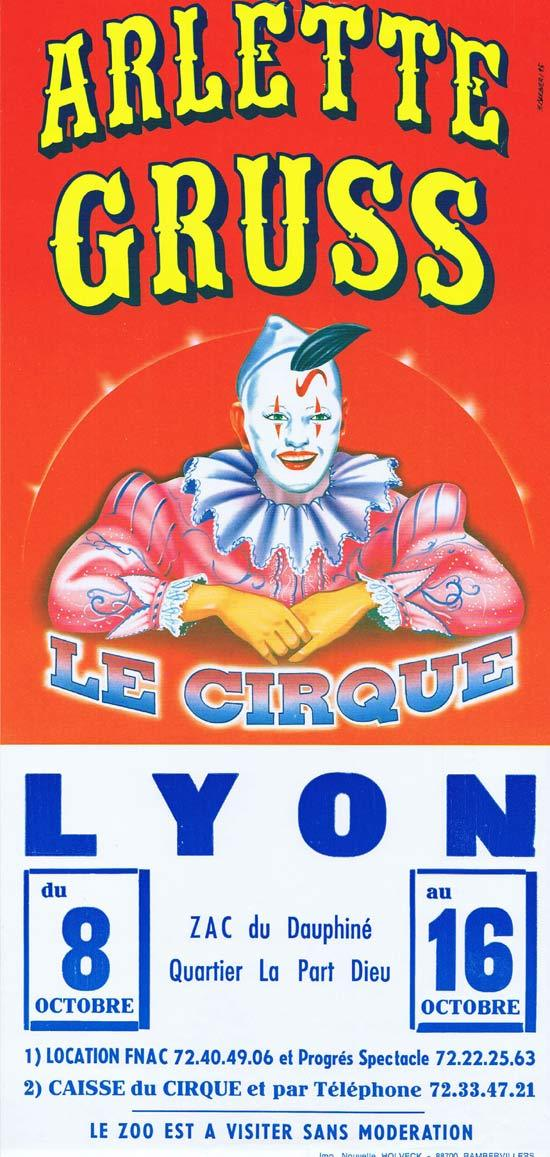 ARLETTE GRUSS CIRCUS Original Poster CLOWN ART Lyon