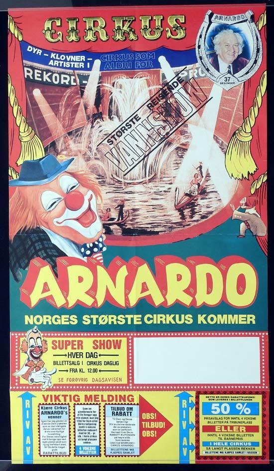 ARNADO CIRCUS Original Poster CLOWN ART Norway