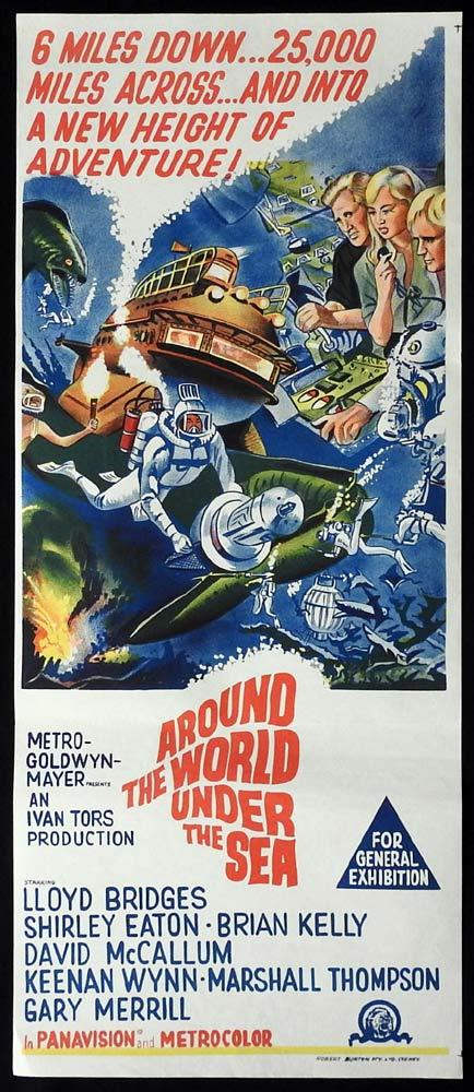 AROUND THE WORLD UNDER THE SEA Original Daybill Movie Poster Lloyd Bridges