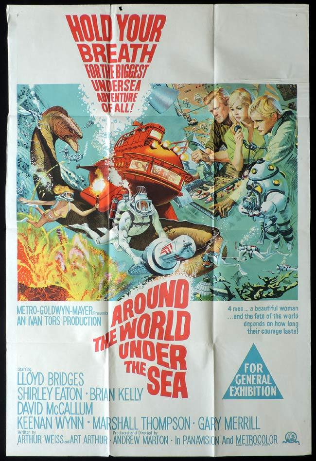 AROUND THE WORLD UNDER THE SEA One Sheet Movie Poster George Pal Science Fiction