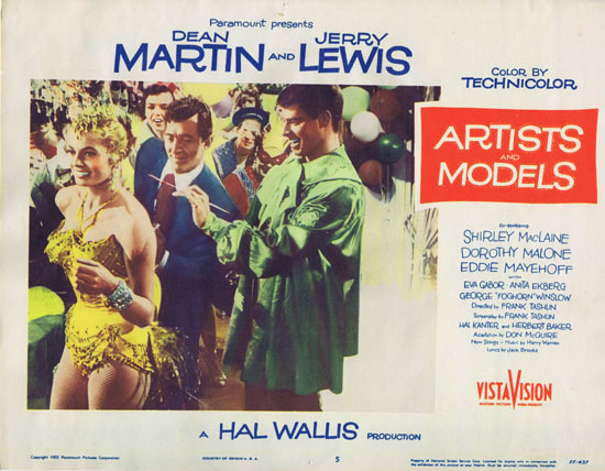 ARTISTS AND MODELS 1955 Lobby Card 5 Jerry Lewis