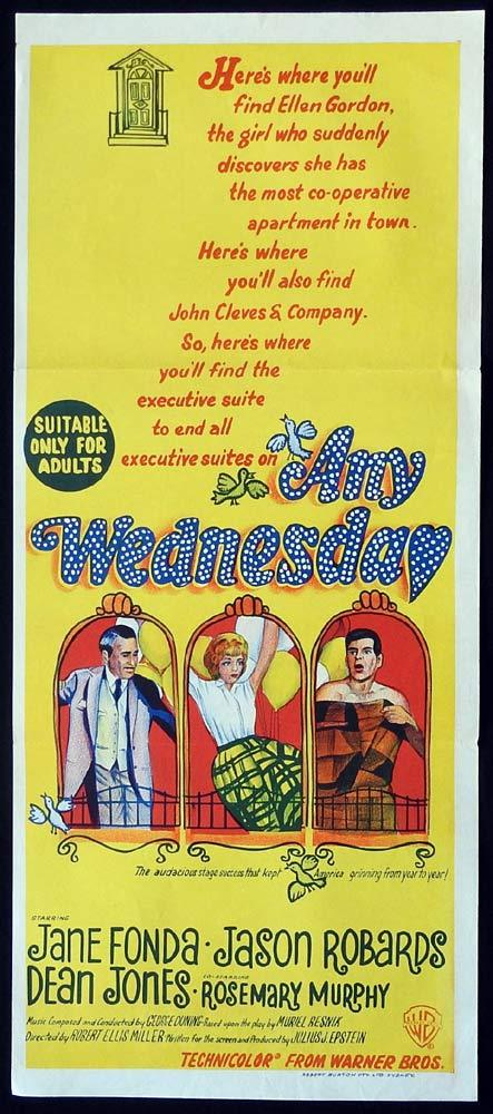 ANY WEDNESDAY Original Daybill Movie Poster Jane Fonda Jason Robards