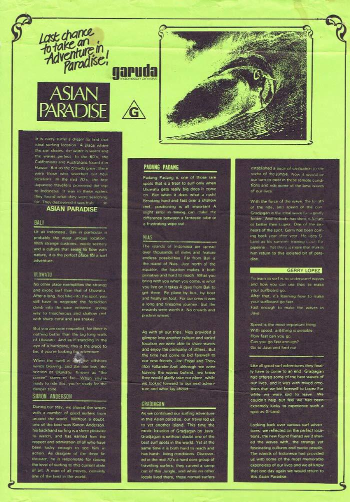 ASIAN PARADISE 1992 Rare ORIGINAL Surfing Movie Press sheet