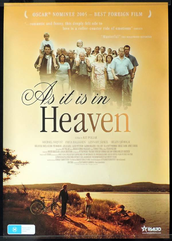 AS IT IS IN HEAVEN One Sheet Movie Poster Michael Nyqvist Academy Award nominated