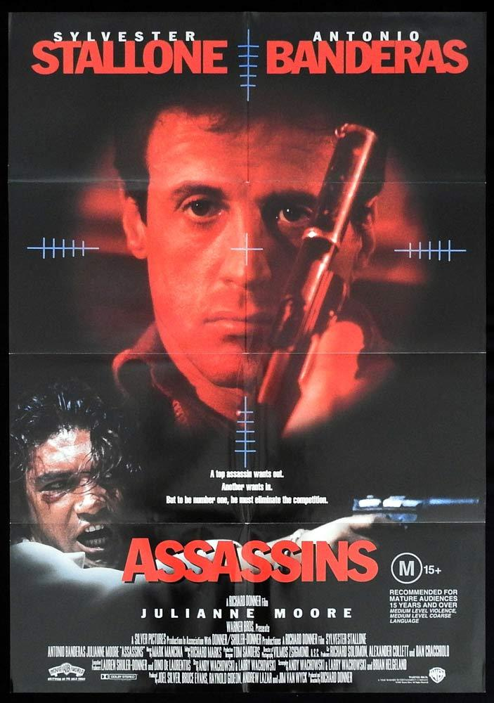 ASSASSINS Original One sheet Movie Poster Sylvester Stallone Antonio Banderas