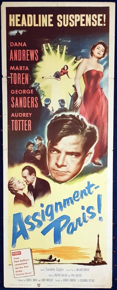 ASSIGNMENT PARIS Original US Insert Movie Poster