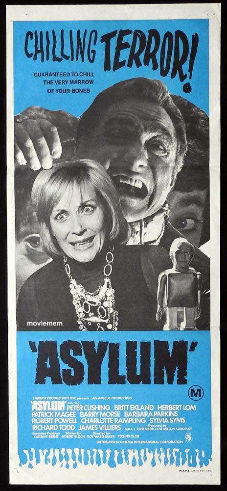 ASYLUM Original Daybill Movie Poster Barbara Parkins Peter Cushing Richard Todd