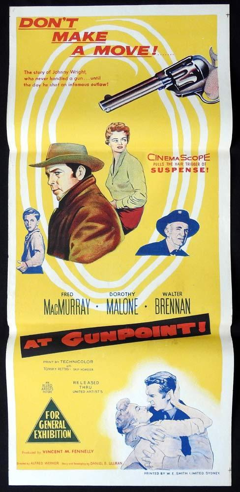 AT GUNPOINT Original Daybill Movie poster Fred MacMurray Dorothy Malone