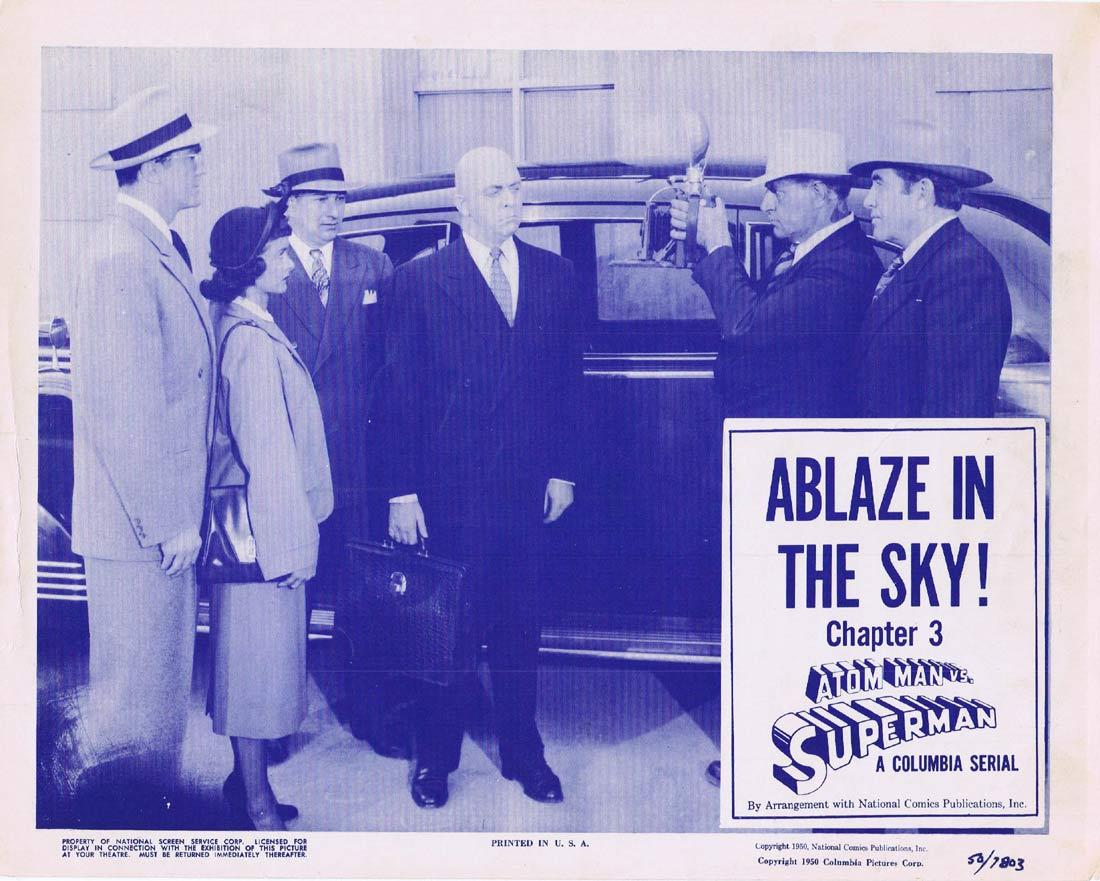 ATOM MAN VS SUPERMAN Original Lobby Card Columbia Serial 1950