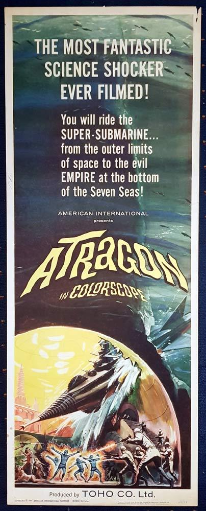 ATRAGON Original US Insert Movie Poster TOHO Sci Fi Ishirô Honda
