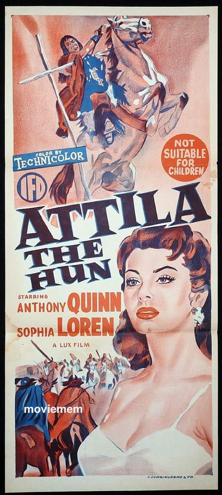 ATTILA THE HUN Original Daybill Movie Poster Anthony Quinn Sophia Loren