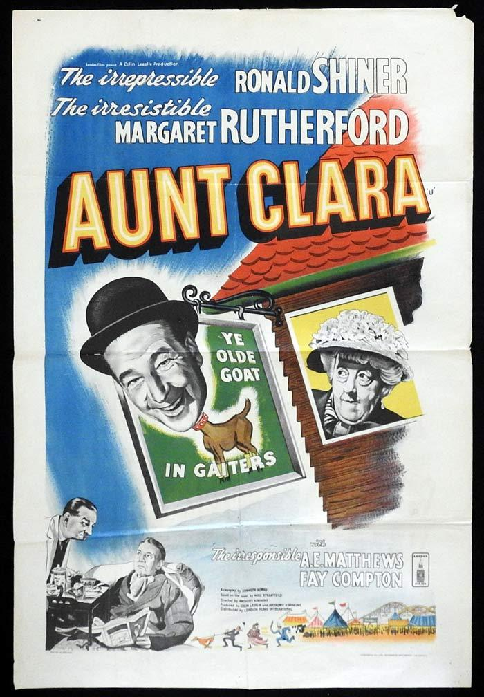 AUNT CLARA British One Sheet Movie Poster Glynis Johns Donald Sinden