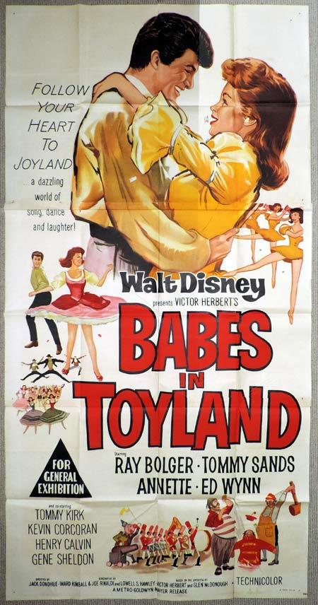 BABES IN TOYLAND Original 3 Sheet Movie Poster Tommy Sands, Annette Funicello, Tommy Kirk